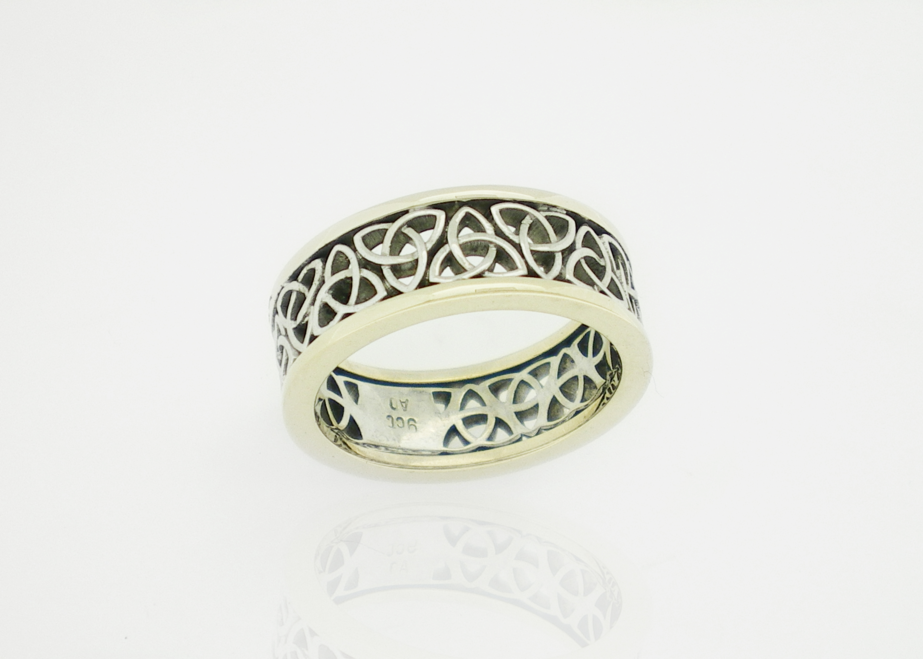 white gents wedding celtic ring rings cross