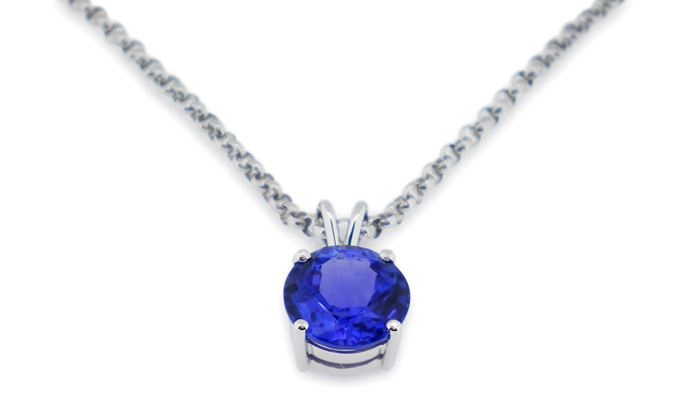 18ct-White-gold-Claw-set-tanzanite-pendant
